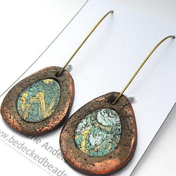 Teardrop Earrings, Modern Copper Blue and Gold Earrings