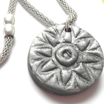 Boho Silver Necklace, Ancient Sun Pendant