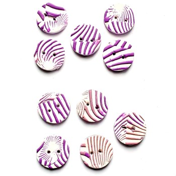 Striped Buttons, Purple and White Buttons