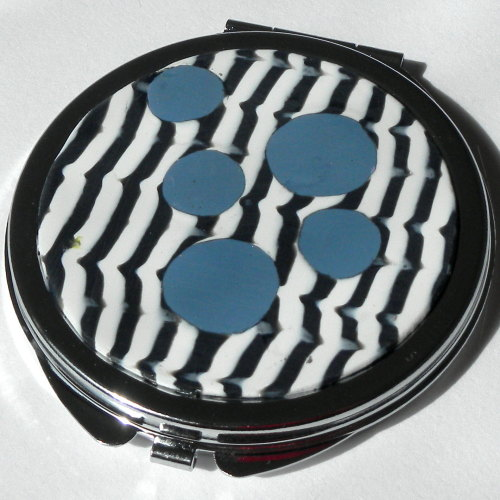 Round Make up Mirror, Retro, Black and White Mirror