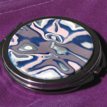 Plum, Silver and Blue, Round Mirror, Makeup Mirror