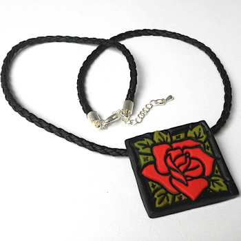 Red Rose Necklace , Floral Pendant