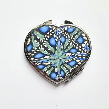Heart Mirror, Blue Black and White Make up Mirror
