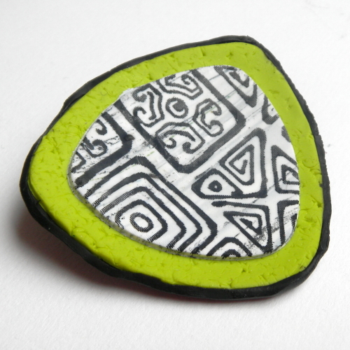 Green Brooch, Retro 1970s Lime Green Pin
