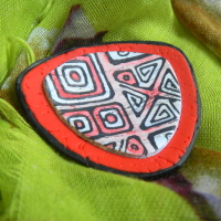 Red Black and White Brooch, Modern Minimalist Brooch