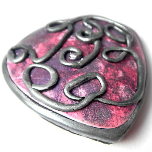 Pink Brooch, Faux Ceramic Brooch