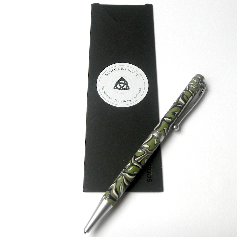 Brushed Chrome Pen, Slimline Green Pen, Handmade