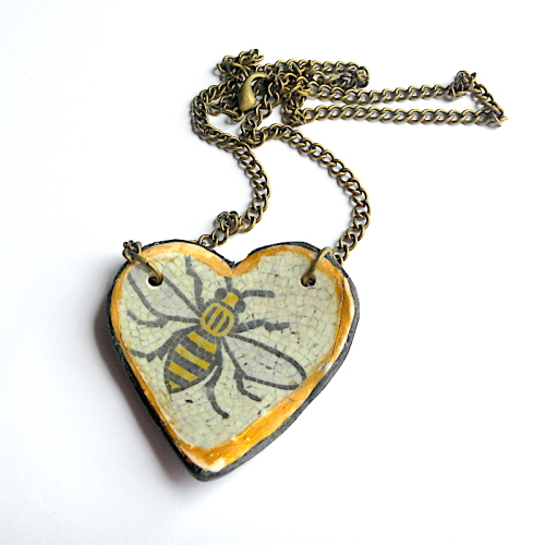 Heart Bee Necklace, Bee Gift