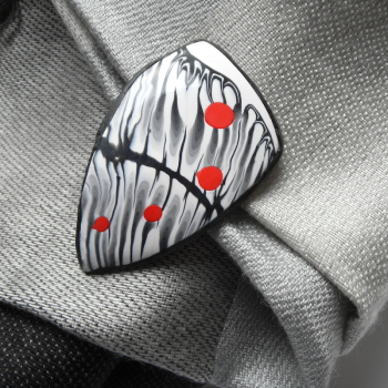 Retro, Modern Brooch, Black and White Pin, Polymer Clay Jewellery