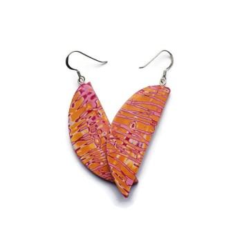 Orange and Fuschia Pink , Semicircle Dangle Earrings