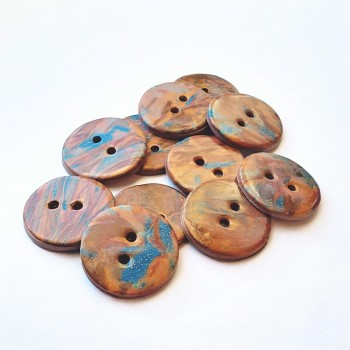 Handmade Buttons, Copper Gold Blue