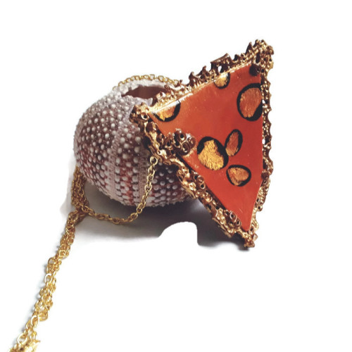 Modern, Copper and Gold Pendant, Polymer Clay