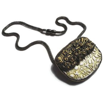 Black and Gold Pendant, Polymer Clay Jewellery