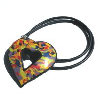 Rainbow Necklace,  Multi Coloured Heart Pendant