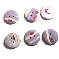 Mix and Match, Handmade Buttons, Maroon and Lilac