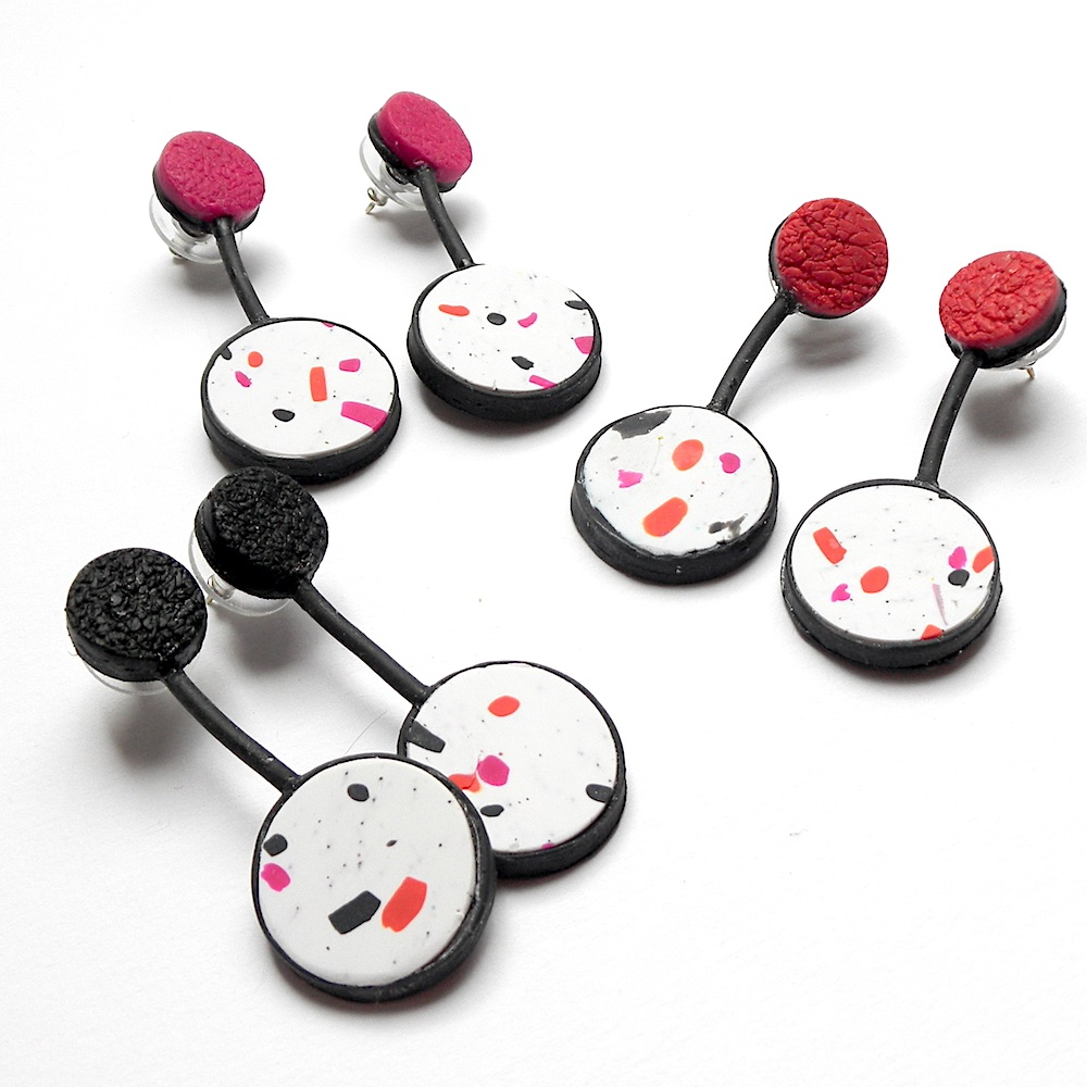 Modern, Terrazzo Earrings, Pink, Black, White