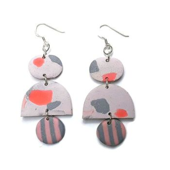 Drop Earrings, Pink and Grey, Boho Chic