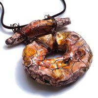 Rustic Pottery, Raku, Gold Pendant
