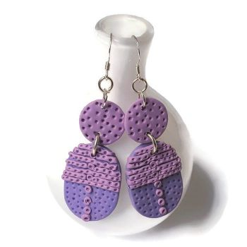 Pink Earrings an Lilac, Textured Earrings