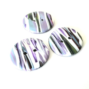 Striped Buttons, Lilac, White  and Green