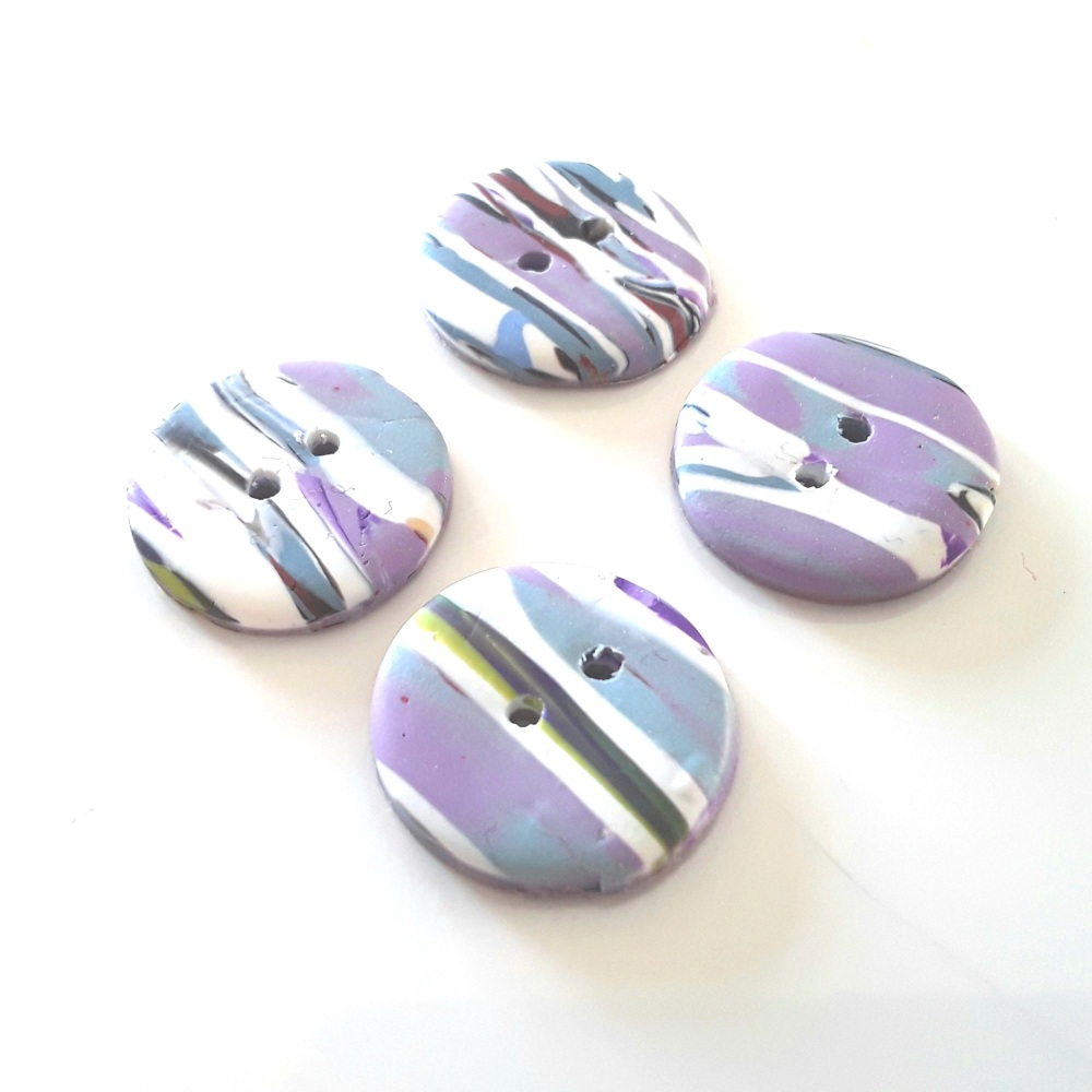 Lilac, White  and Green, Handmade Buttons, 20 mm