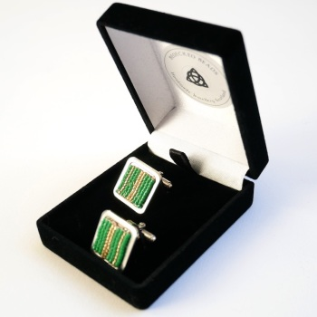 Green and Gold Cufflinks, Unique Mens Gift