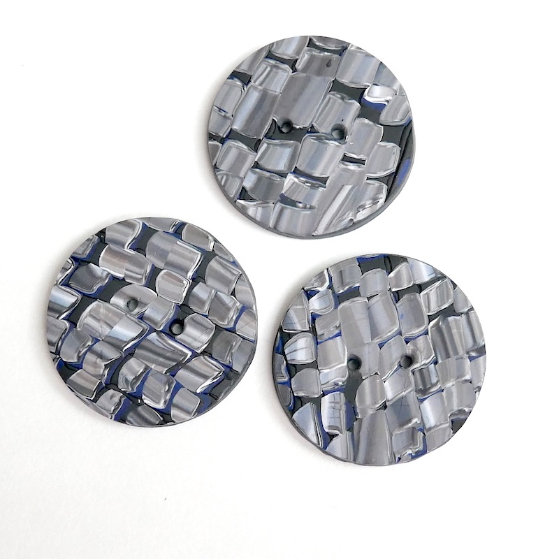 Grey and Black, Faux Mosaic Buttons