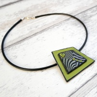 Green, Lilac and Black Geometric Necklace, Contemporary Jewellery