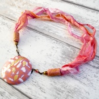 Pink and Gold Ribbon Necklace, Silk Chiffon
