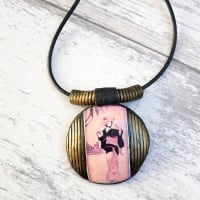 Geisha Girl, Domed Pendant, Black and Gold Jewellery