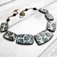 Collar Necklace, Green and Blue Necklace, Polymer Clay Jewellery