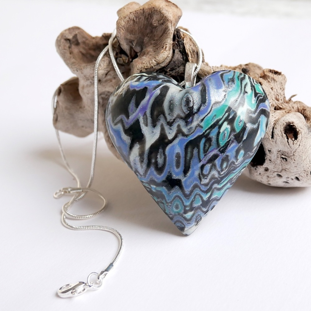 Heart Necklace, Blue  and Silver Heart Pendant