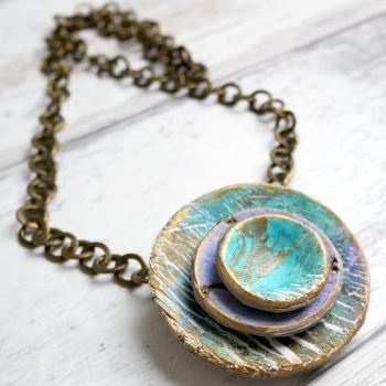 Long Necklace, Rustic Circle Necklace