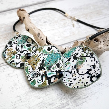 Statement Necklace, Green Black and Gold, Abstract Necklace