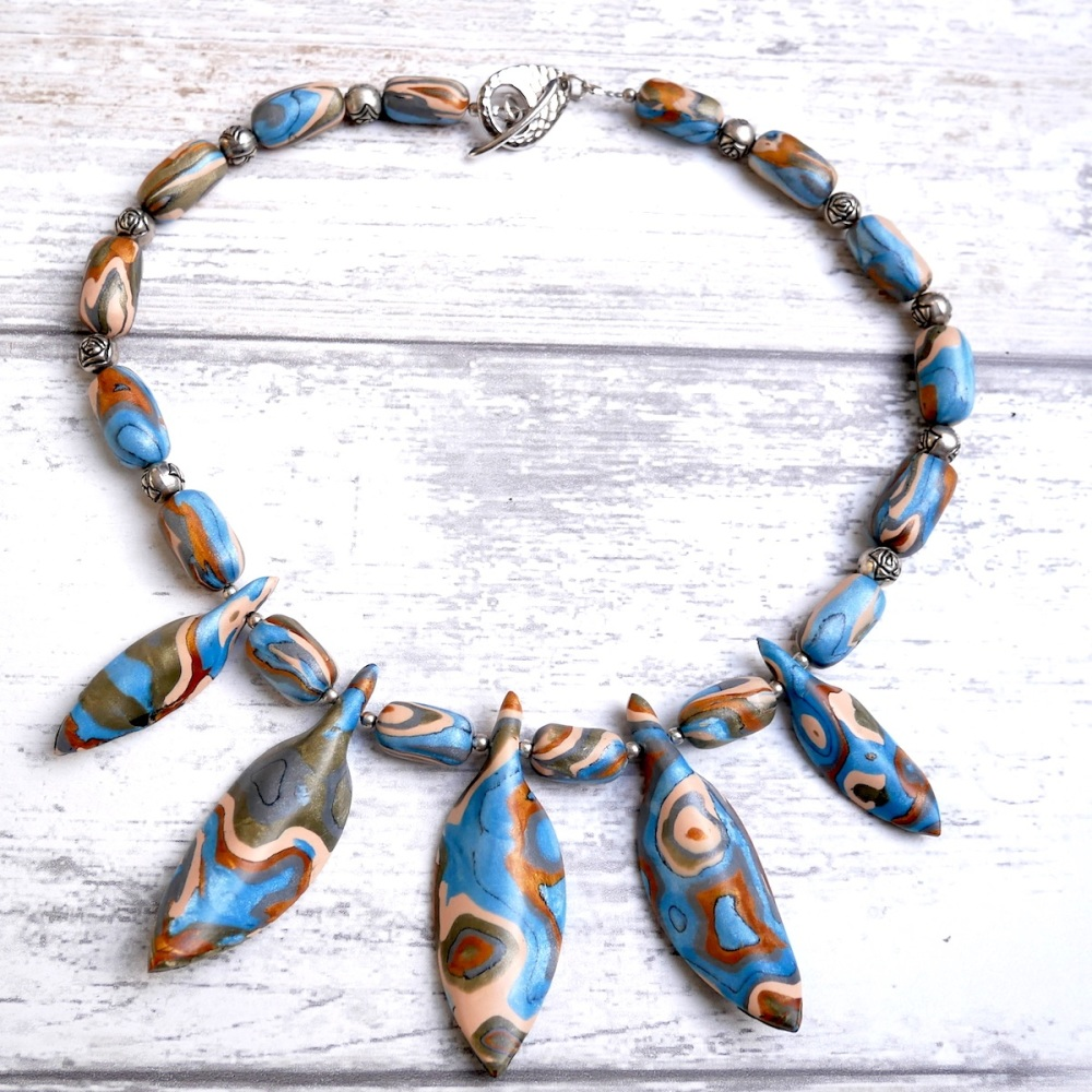 Blue, Copper and Green Necklace, Polymer Clay Beaded Necklace