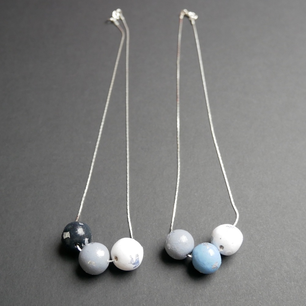 Black White Grey and Blue, Pendant Necklace
