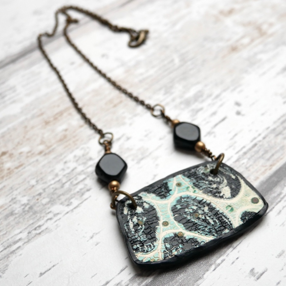 Green Black and White Pendant Necklace, Artisan Jewellery
