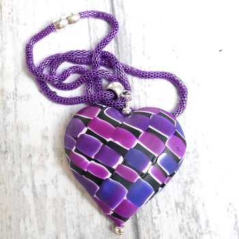 Mosaic Necklace, Polymer Clay, jewellery