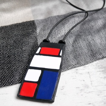 Red White and Blue Pendant, Art Jewellery