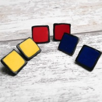Square Earrings, Red, Blue, Yellow Modern Jewellery
