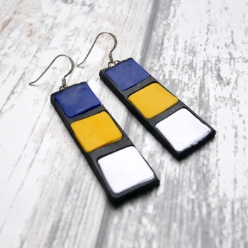Blue White and Yellow Earrings, Mondrian Earrings