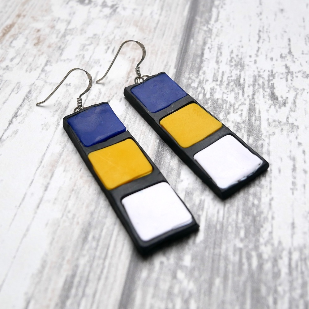 Blue White and Yellow Earrings, Modern Earrings