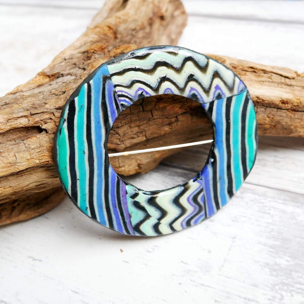 Scarf Ring, Turquoise, Yellow and Black