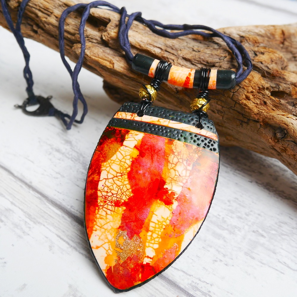 Crackled Ethnic, Red and Gold Pendant