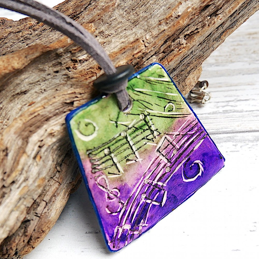 Music Necklace, Purple and Green Reversible Necklace