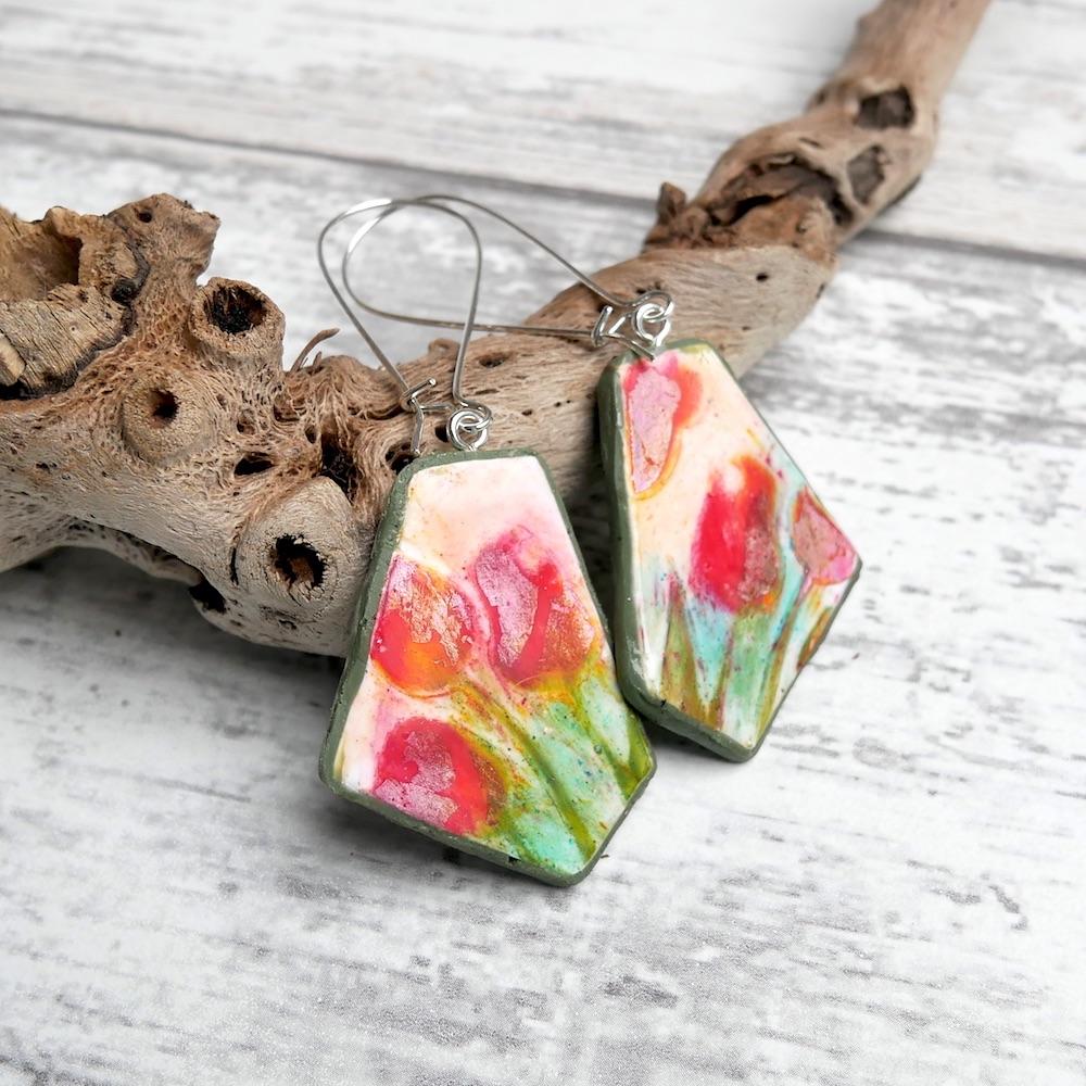 Tulip Earrings, Flower Jewellery