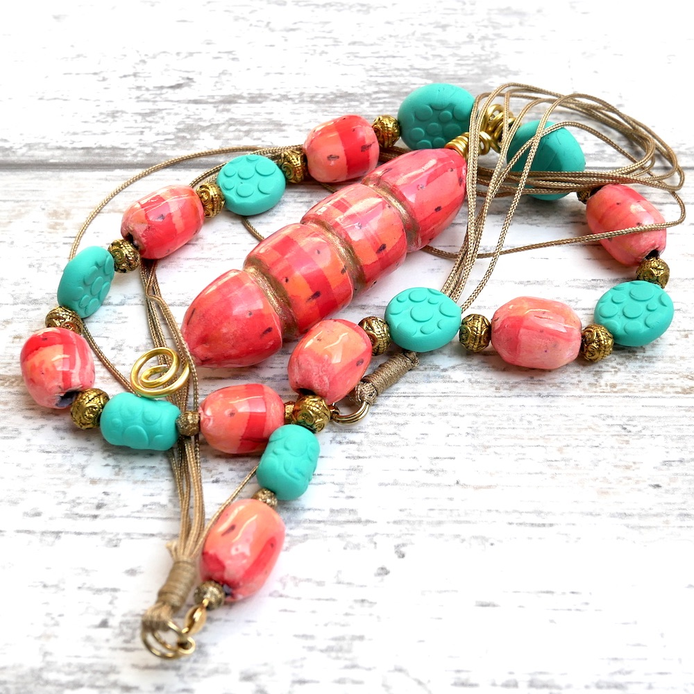 Long Coral and Turqoise necklace