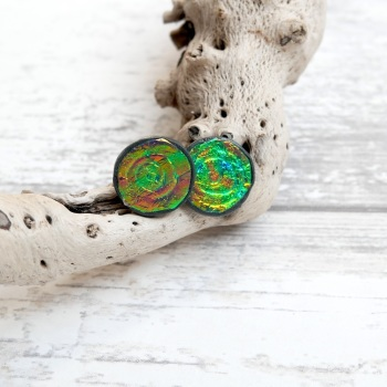 Green and Gold, Holographic Earrings
