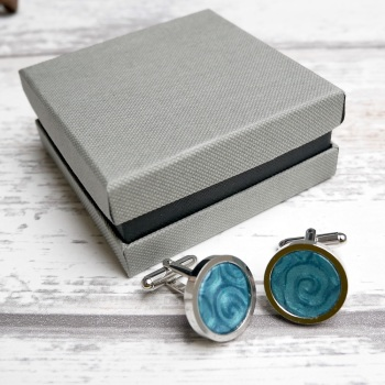 Blue Pearlised Cufflinks, Square, Round
