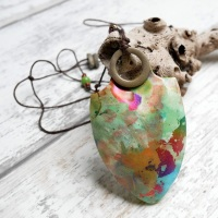 Long, Adjustable Necklace, Painterly Necklace